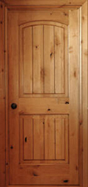 knotty alder raised 2panel archtop rustic interior door with vgroove