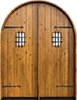 Knotty Alder Round-Top Plank Style Double Exterior Wood Door