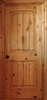Knotty Alder Raised 2-Panel Arch-Top Rustic Interior Door with V-Groove