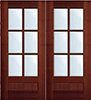 Mahogany TDL 6-Light Double Exterior Wood Doors