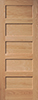 Red Oak Veneered Horizontal 5-Panel Interior Door
